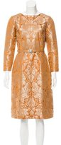 Oscar de la Renta Belted Jacquard Dress