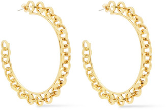Elizabeth Cole 24-karat Gold-plated Hoop Earrings