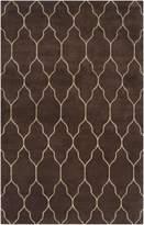 Surya GAT1000 Gates Transitional Hand Knotted 100% Wool Dark Brown Rug (5-Feet x 8-Feet )
