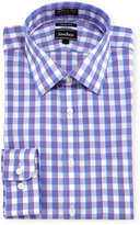 Neiman Marcus Trim-Fit Non-Iron Check Dress Shirt, Purple