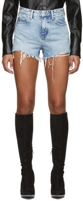 Alexander Wang Blue Denim Bite Zip Shorts