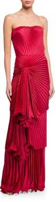 Flor Et. Al Carmela Strapless Drape-Front Pleated Column Gown