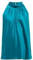 Diane von Furstenberg Dove High-neck Satin Blouse - Womens - Green