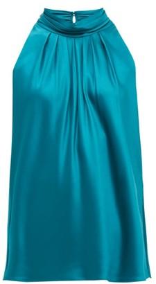 Diane von Furstenberg Dove High-neck Satin Blouse - Green