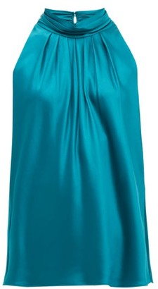 Diane von Furstenberg Dove High-neck Satin Blouse - Womens - Green