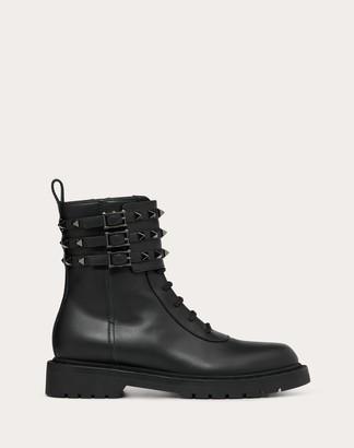Valentino Rockstud Calfskin Leather Combat Boot 20 Mm Women Black Calfskin 100% 38.5
