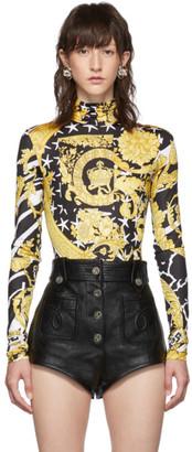 Versace Black and Yellow Heritage Stamp Bodysuit