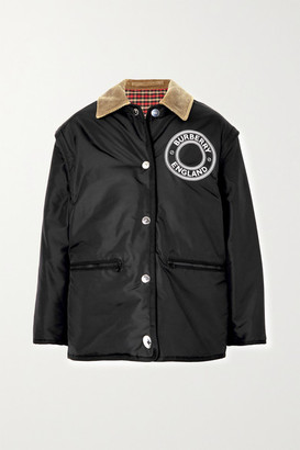 Burberry Reversible Corduroy-trimmed Printed Shell Jacket - Black