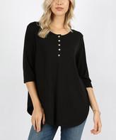 Lydiane Women's Tunics BLACK - Black Three-Quarter Sleeve Curved-Hem Henley - Women