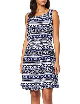 Tom Tailor Women's 1012236 Dress, Blue White Ikat 18454, Small