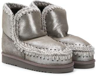 Mou Kids TEEN knitted trim eskimo boots