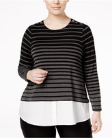 Calvin Klein Plus Size Layered-Look Striped Sweater