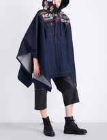 A.F.Vandevorst Badge-embroidered hooded denim poncho