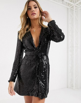 Club L London sequin tux dress in black