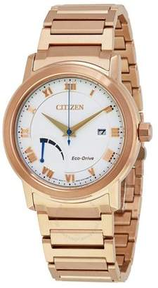 Citizen Men's Designer Eco Drive Dress Quartz Stainless Steel and Gold Watch