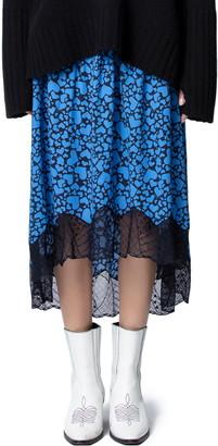 Zadig & Voltaire Joslin Heart Print Lace Hem Skirt