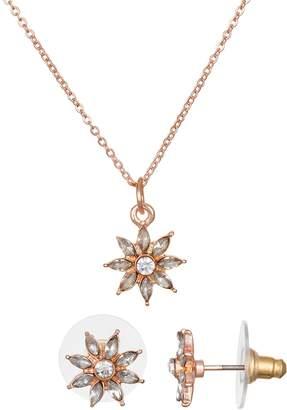 Lauren Conrad Nickel Free Flower Necklace & Stud Earring Set