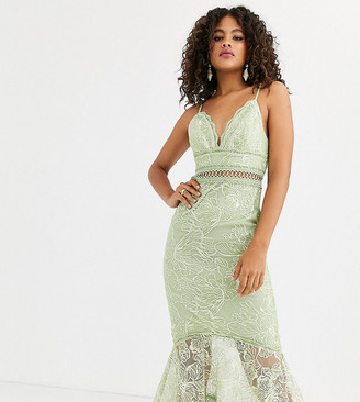 Asos Tall DESIGN Tall pencil dress in embroidered sequin with lace trims-Blue