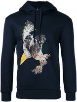 Neil Barrett owl print hoodie - men - Polyurethane/Viscose - M