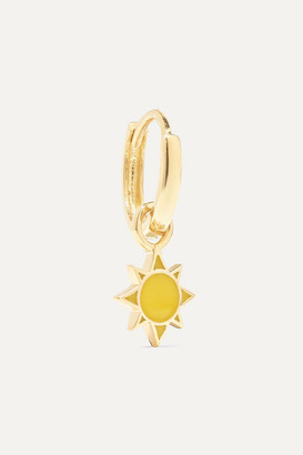 Alison Lou Sun Huggy 14-karat Gold And Enamel Earring