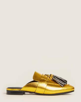 Kurt Geiger Gold Kaiser Metallic Loafer Mules