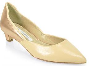 Diane von Furstenberg Alice - Kitten Heel Pump in Nude Leather