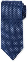 Neiman Marcus English Woven Multi-Print Silk Tie, Blue