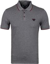 Armani Jeans Grey Marl Tipped Short Sleeve Polo Shirt