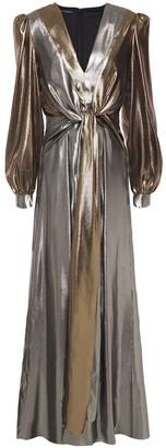 Alberta Ferretti Knotted Two-tone Silk-blend Lame Gown