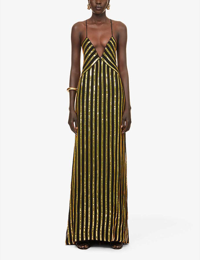 Galvan Pride sequin-embellished stripe pattern woven gown