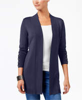 JM Collection Petite Lace-Up-Trim Cardigan, Created for Macy's