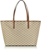 Michael Kors Emry Natural/Luggage Coated Canvas Large TZ Tote