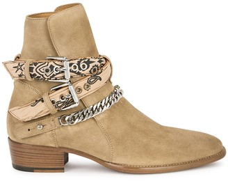 Amiri Bandana taupe brushed suede ankle boots