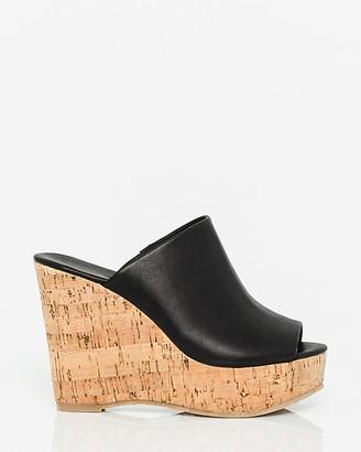 Le Château Faux Leather Open Toe Wedge Slide Sandal