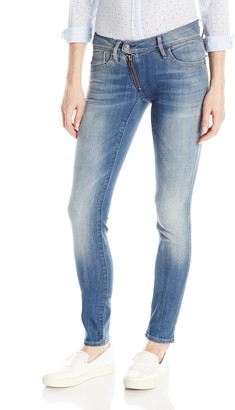 G Star Women's Lynn Zip Midrise Skinny Bionic Slander Super Stretch Medium Aged Jean