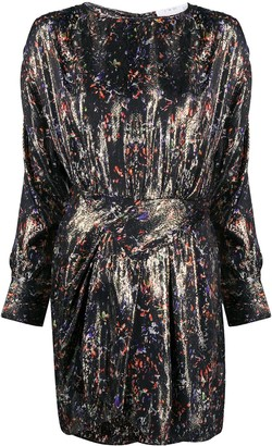 IRO Floral-Print Metallic Dress