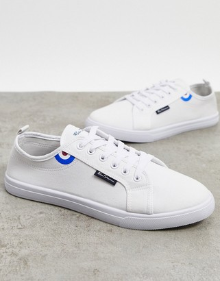 Ben Sherman lace up plimsolls in white drench