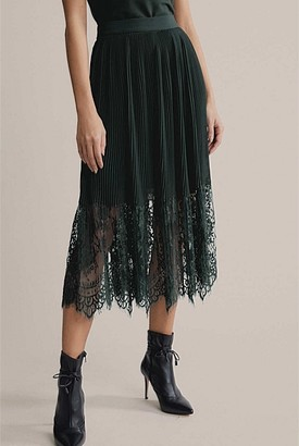 Witchery Plisse Lace Splice Skirt