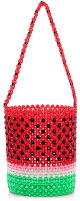 Susan Alexandra Watermelon Beaded Bucket Bag