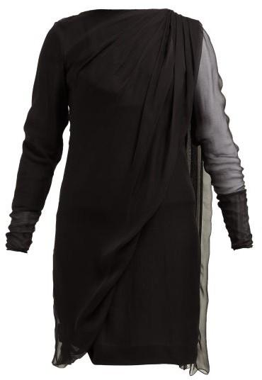 Lanvin Draped Overlay Silk-chiffon Dress - Womens - Black
