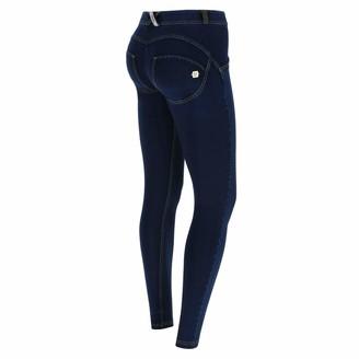 Freddy WR.UP Regular-Rise Super Skinny Trousers in Dark Jersey Denim - Dark Jeans-Yellow Seam - Extra Small