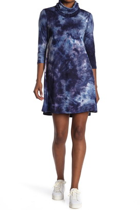 MSK Built-In Mask Tie Dye Cowl Neck Quarter Sleeve Shift Dress