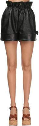 Miu Miu High Waist Leather Shorts