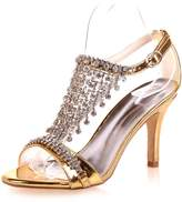 Monie Women's Jewel Tassels Stiletto Evening Dress Strappy Heeled Sandals 8.5B US