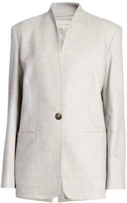 LOULOU STUDIO Folaca Collarless Single Button Wool & Cashmere Stretch Jacket