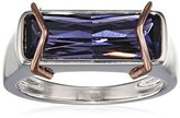 Fiorelli Silver Facetted Swarovski Rose Gold Details Ring - Size O