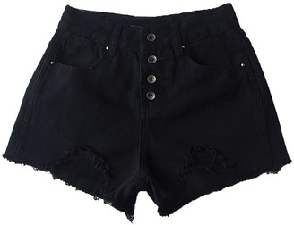 Goodnight Macaroon 'Margot' 4 Buttons High Waisted Distressed Denim Shorts (4 Colors)