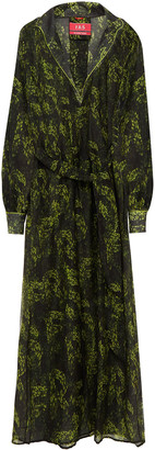 F.R.S For Restless Sleepers Anfitrite Belted Printed Cotton And Silk-blend Maxi Dress
