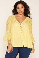 Forever 21 FOREVER 21+ Plus Size Bell-Sleeve Lace Top