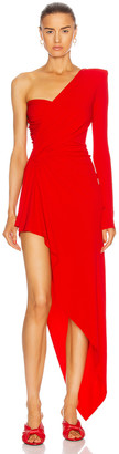 Alexandre Vauthier Ruched One Shoulder Asymmetric Dress in Poppy | FWRD